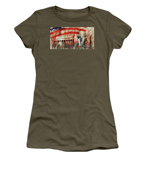 Women's T-Shirt (Junior Cut) featuring the painting Lincoln Memorial And Lincoln Statue by Gull G