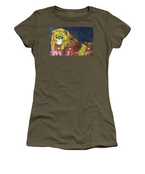 Women's T-Shirt (Athletic Fit) featuring the painting Lion Family by Donald J Ryker III