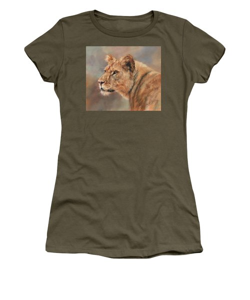 Women's T-Shirt (Junior Cut) featuring the painting Lioness Portrait by David Stribbling