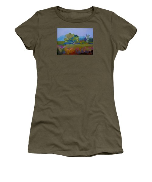 Women's T-Shirt (Junior Cut) featuring the painting Little Miami Meadow by Francine Frank