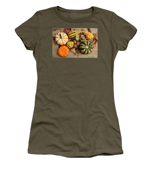 Women's T-Shirt (Athletic Fit) featuring the photograph Little Pumpkins Fall Decor by Sheila Brown