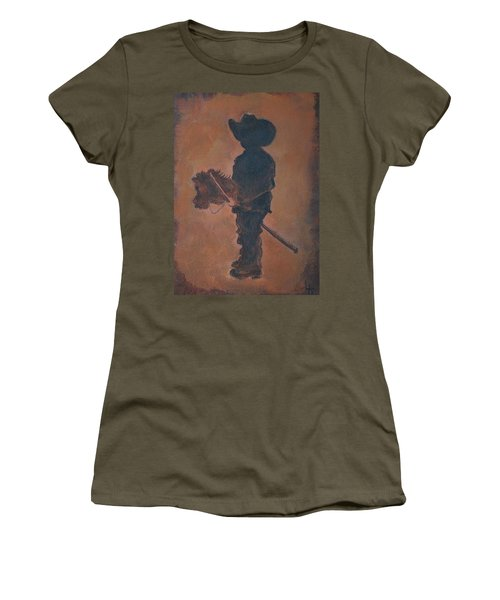Women's T-Shirt (Junior Cut) featuring the painting Little Rider by Leslie Allen
