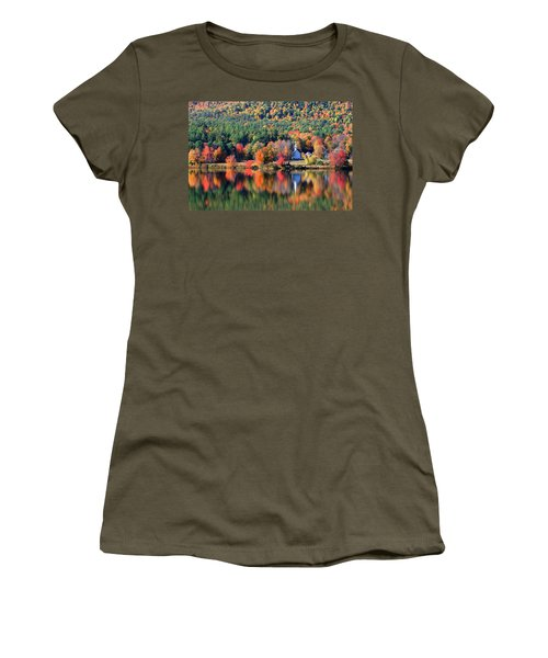 Women's T-Shirt (Junior Cut) featuring the photograph 'little White Church', Eaton, Nh by Larry Landolfi