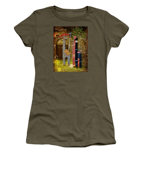 Women's T-Shirt (Junior Cut) featuring the digital art Llamas Say Goodbye by Bellesouth Studio