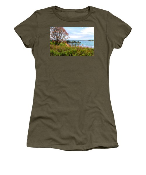 Women's T-Shirt (Athletic Fit) featuring the photograph Lobster Traps by Betty Pauwels