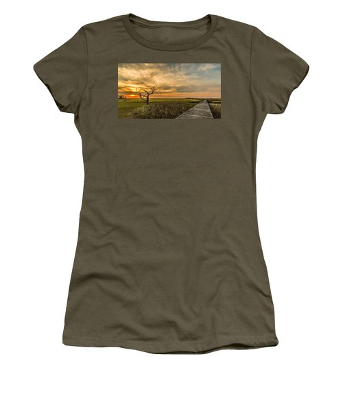 Lone Cedar Dock Sunset - Dewees Island Women's T-Shirt