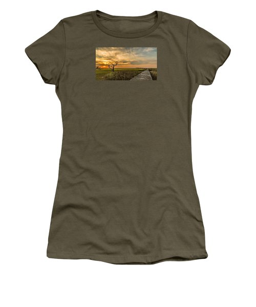 Lone Cedar Dock Sunset - Dewees Island Women's T-Shirt (Athletic Fit)