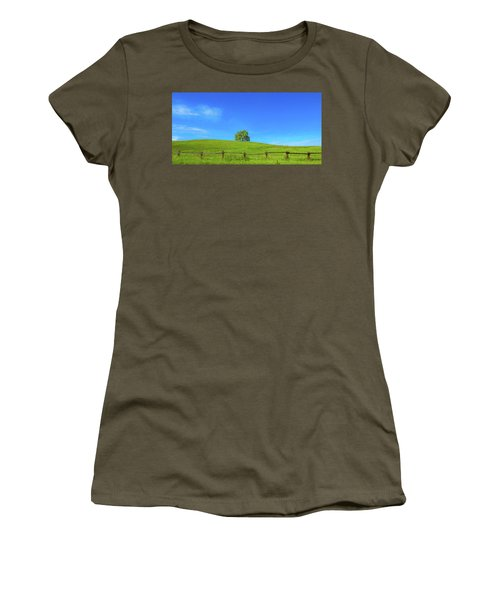 Lone Tree On A Hill Digital Art Women's T-Shirt (Athletic Fit)