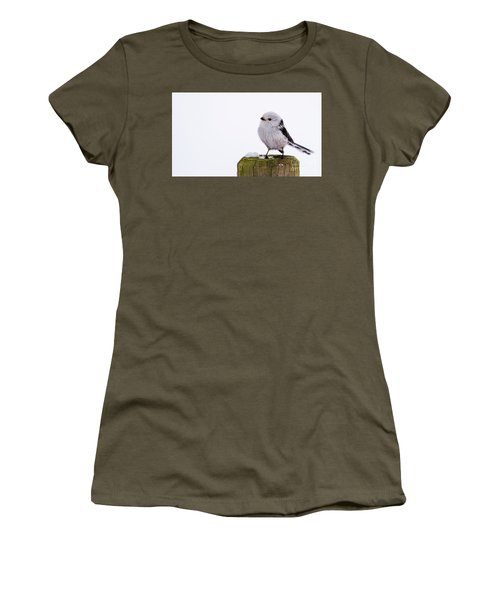 Women's T-Shirt (Junior Cut) featuring the photograph Long-tailed Tit On The Pole by Torbjorn Swenelius