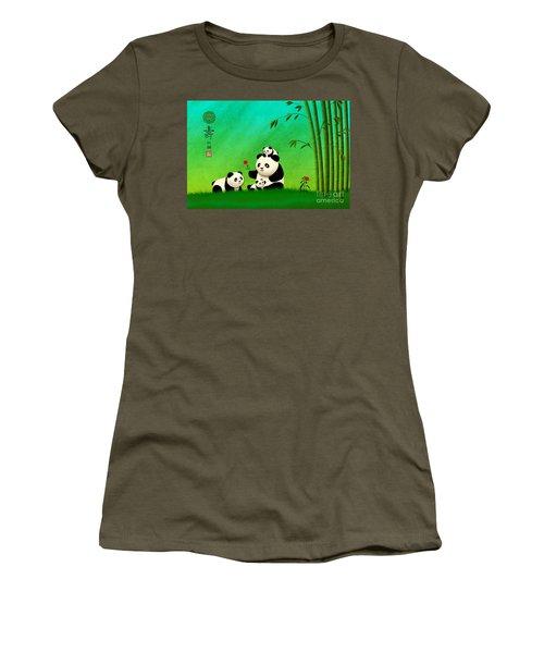 Longevity Panda Family Asian Art Women's T-Shirt (Athletic Fit)