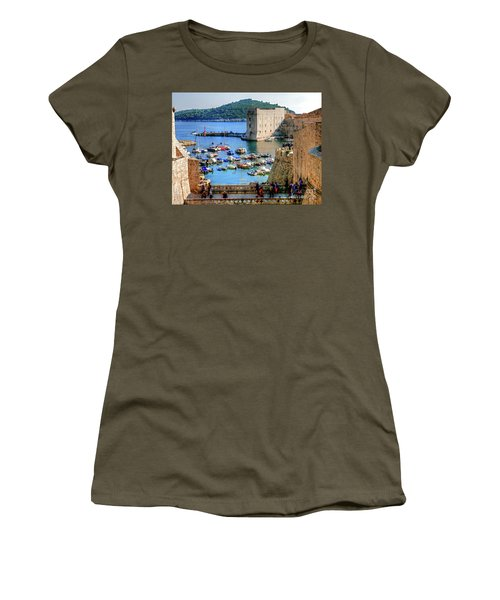 Looking Out Onto Dubrovnik Harbour Women's T-Shirt