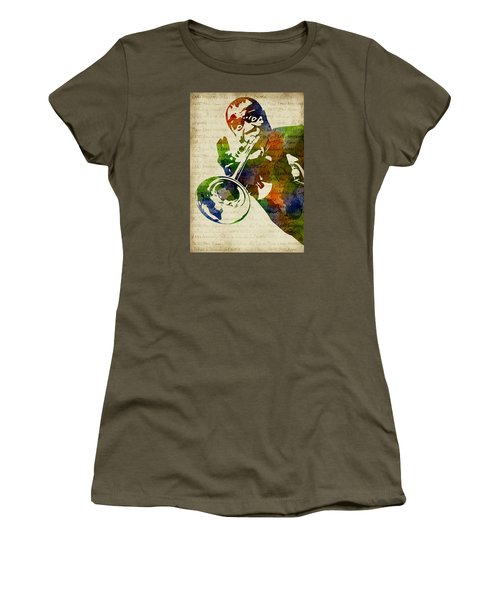 Louis Armstrong Watercolor Women's T-Shirt (Athletic Fit)