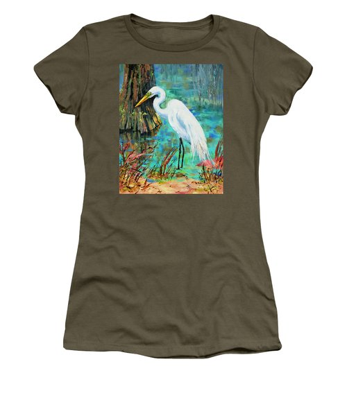 Women's T-Shirt (Junior Cut) featuring the painting Louisiana Male Egret by Dianne Parks