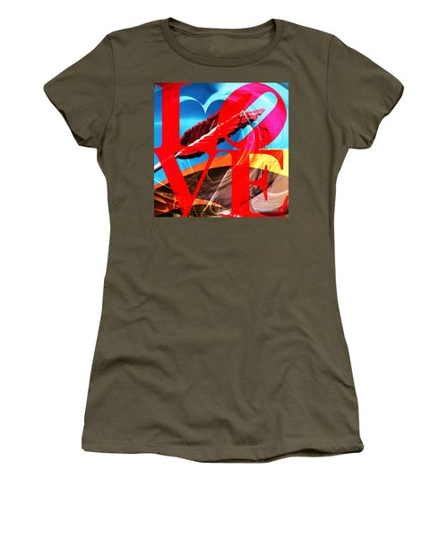 Women's T-Shirt featuring the photograph Love Swirls At The San Francisco Cupids Span Sculpture Dsc1819 by Wingsdomain Art and Photography