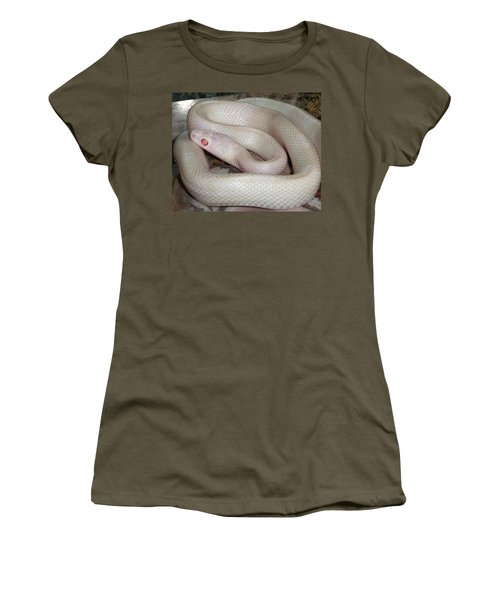 Luna White Snake Women's T-Shirt (Junior Cut) by Patricia McNaught Foster