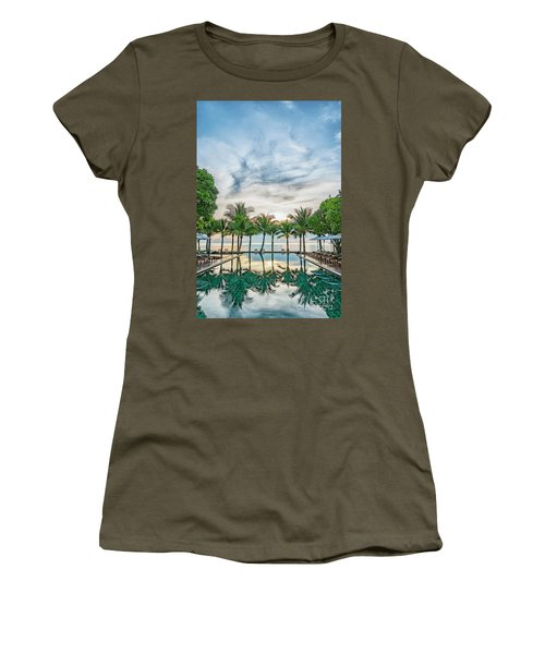 Women's T-Shirt (Junior Cut) featuring the photograph Luxury Pool In Paradise by Antony McAulay