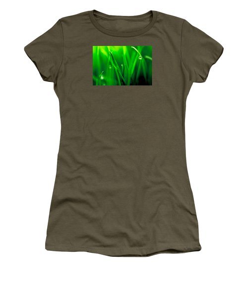 Macro Image Of Fresh Green Grass Women's T-Shirt (Junior Cut) by John Williams