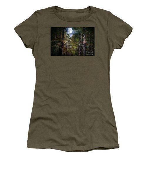 Magical Moonlit Forest Women's T-Shirt (Junior Cut) by Judy Palkimas