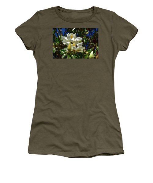 Magnolia Blossoms Women's T-Shirt (Junior Cut) by Kathy Baccari