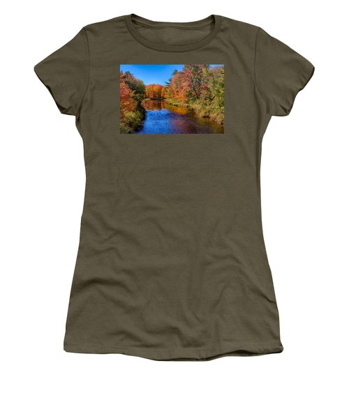 Women's T-Shirt featuring the photograph Maine Brook In Afternoon With Fall Color Reflection by Jeff Folger