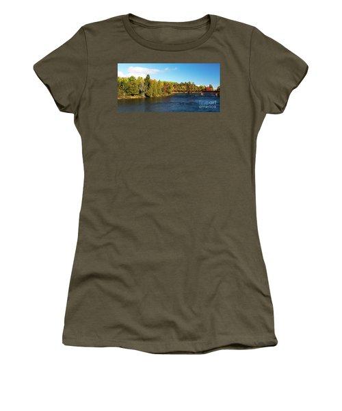 Maine Rail Line Women's T-Shirt (Junior Cut) by Sandy Molinaro