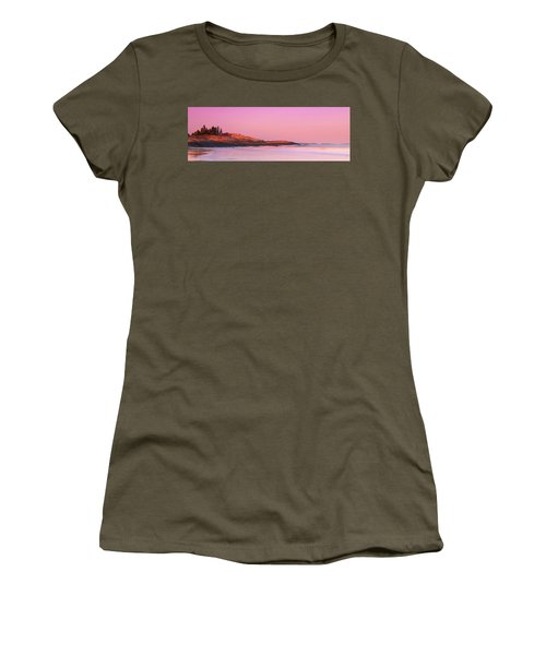 Maine Sheepscot River Bay With Cuckolds Lighthouse Sunset Panorama Women's T-Shirt (Athletic Fit)