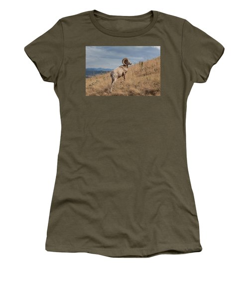 Women's T-Shirt (Athletic Fit) featuring the photograph Majestic Bighorn  by Fran Riley