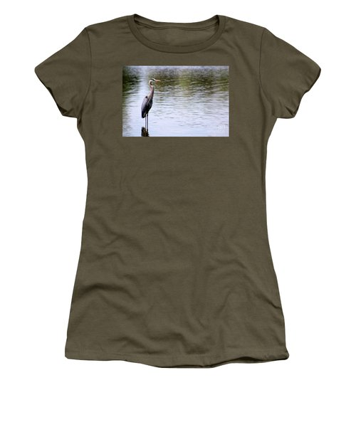 Majestic Great Blue Heron Women's T-Shirt (Athletic Fit)