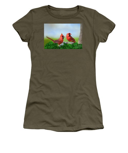 Male Northern Cardinals In Spring Women's T-Shirt (Athletic Fit)