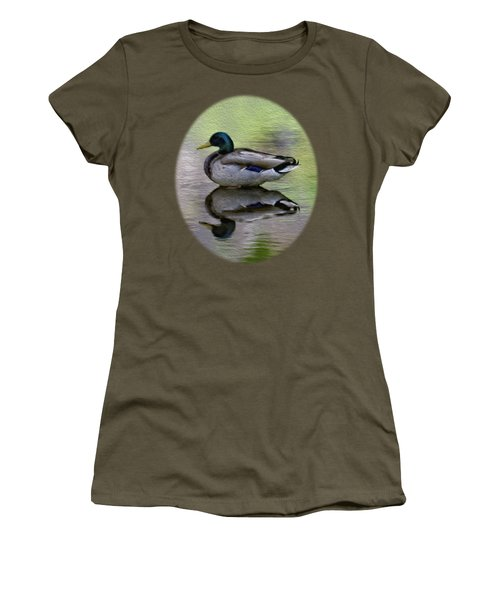 Women's T-Shirt (Junior Cut) featuring the photograph Mallard In Mountain Water by Mark Myhaver