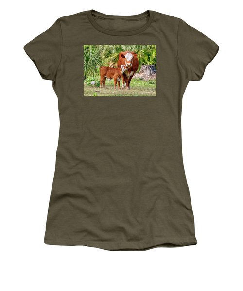 Mama Cow Keeping Baby Close Women's T-Shirt (Athletic Fit)