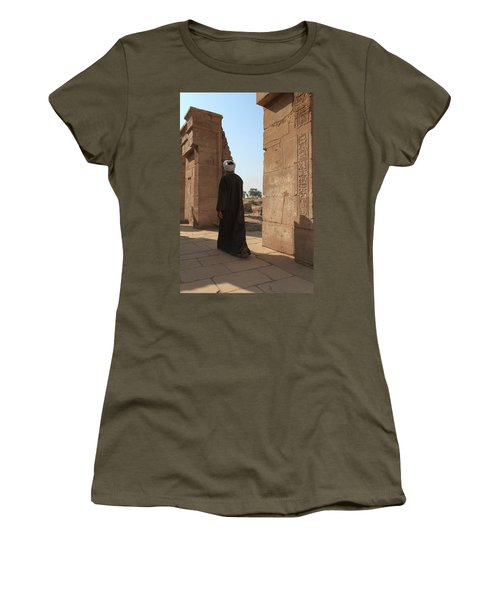 Women's T-Shirt (Athletic Fit) featuring the photograph Man In The Temple by Silvia Bruno