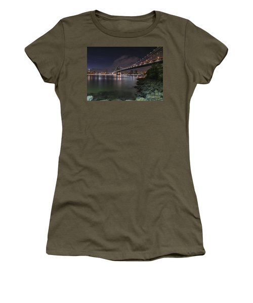 Manhattan Bridge Twinkles At Dusk Women's T-Shirt