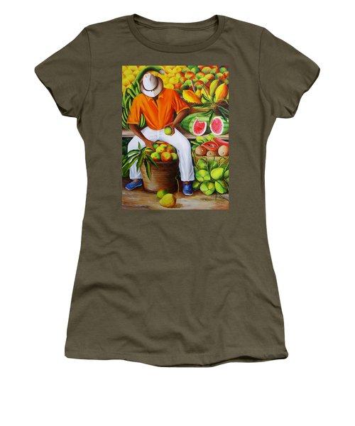 Manuel The Caribbean Fruit Vendor  Women's T-Shirt (Athletic Fit)