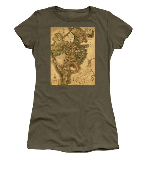 Map Of Boston 1814 Women's T-Shirt (Junior Cut) by Andrew Fare