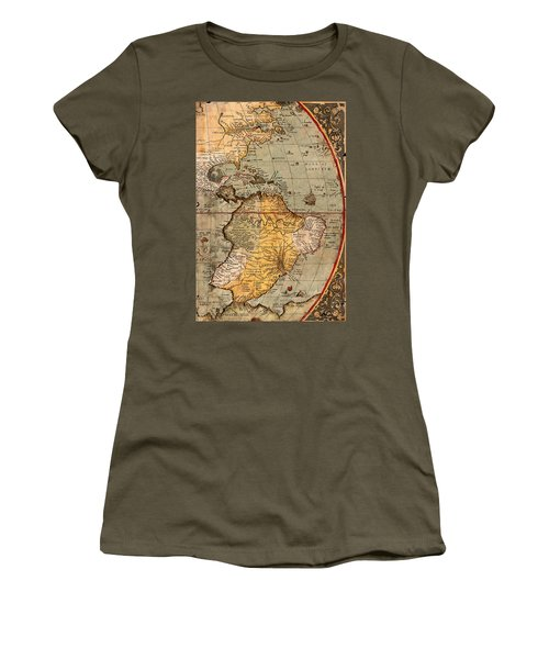 Map Of The Americas 1570 Women's T-Shirt (Junior Cut) by Andrew Fare
