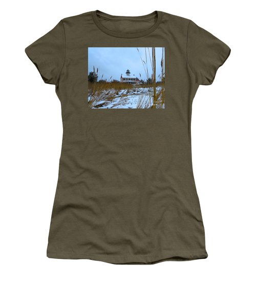 March Snow At East Point Lighthouse Women's T-Shirt (Athletic Fit)