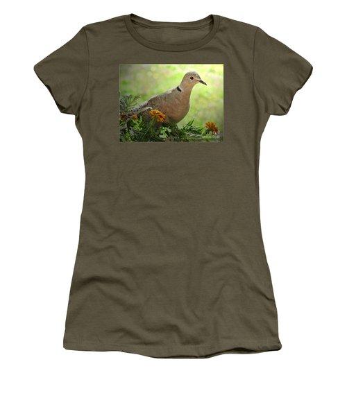 Women's T-Shirt (Junior Cut) featuring the photograph Marigold Dove by Debbie Portwood