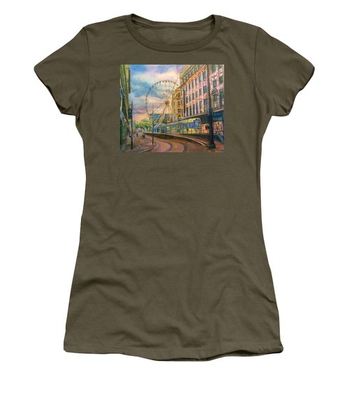 Market Street Metrolink Tramstop With The Manchester Wheel  Women's T-Shirt (Athletic Fit)