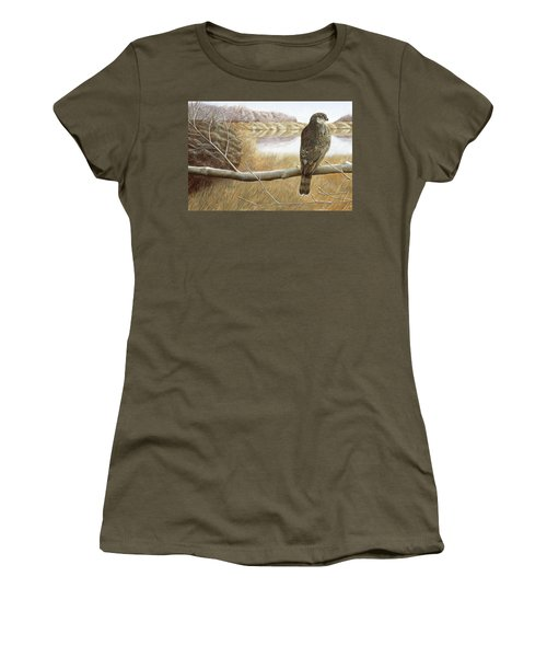 Women's T-Shirt (Junior Cut) featuring the painting Marsh Hawk by Laurie Stewart