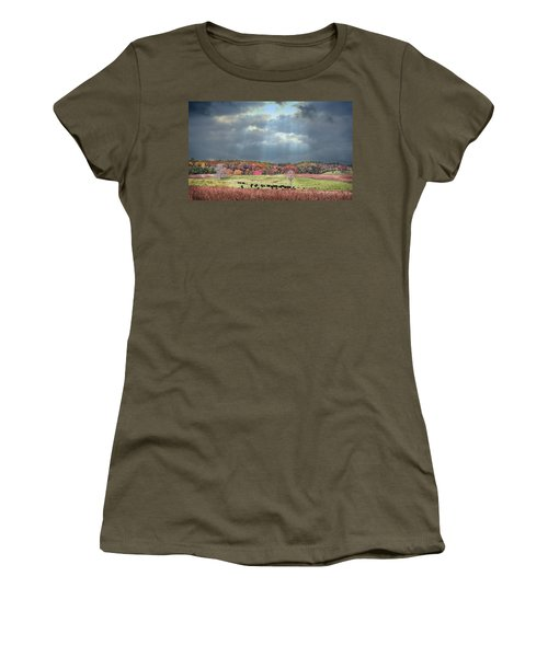 Maryland Farm With Autumn Colors And Approaching Storm Women's T-Shirt (Athletic Fit)