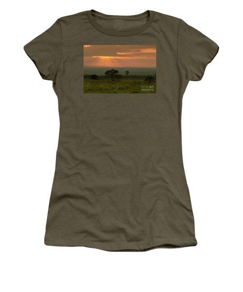 Women's T-Shirt (Junior Cut) featuring the photograph Masai Mara Balloon Sunrise by Karen Lewis