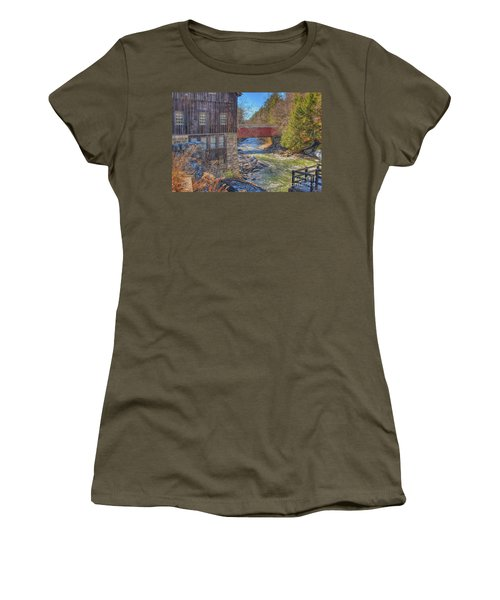 Mcconnells Mill Winter  Women's T-Shirt (Junior Cut) by Randy Steele