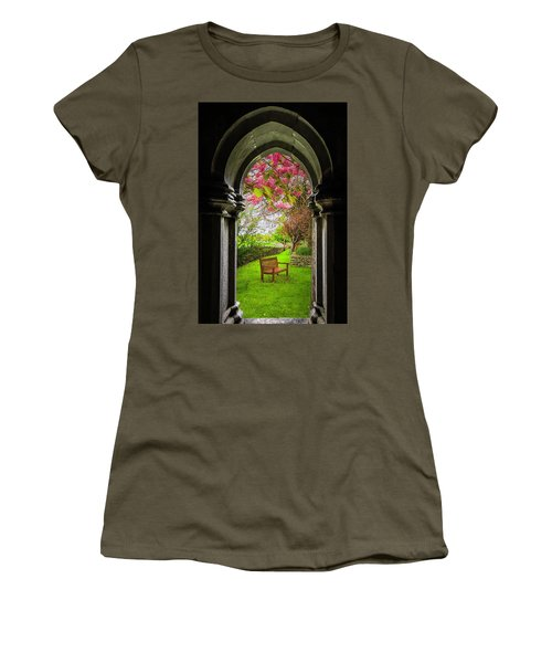 Women's T-Shirt (Athletic Fit) featuring the photograph Medieval Abbey In Irish Spring by James Truett