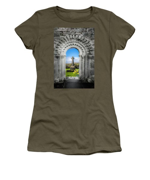 Medieval Arch And High Cross, County Clare, Ireland Women's T-Shirt