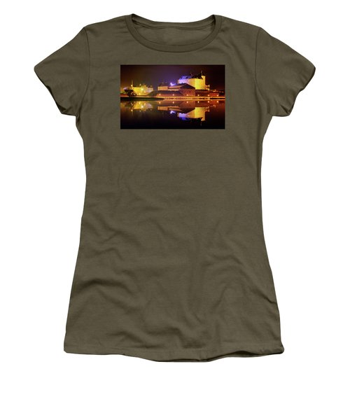 Medieval Castle By The Lake At Night Women's T-Shirt (Junior Cut) by Teemu Tretjakov