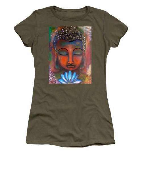 Meditating Buddha With A Blue Lotus Women's T-Shirt (Junior Cut) by Prerna Poojara