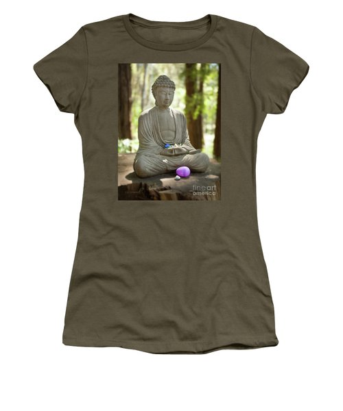 Women's T-Shirt (Athletic Fit) featuring the photograph Meditation Buddha With Offerings by Carol Lynn Coronios
