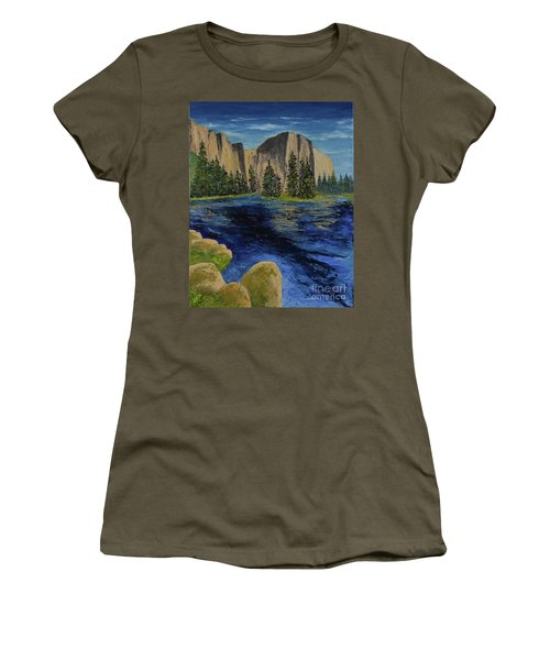 Merced River, Yosemite Park Women's T-Shirt (Athletic Fit)
