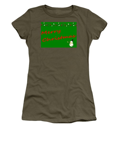 Merry Christmas Little Snow Man On Green Women's T-Shirt (Athletic Fit)